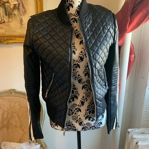 BCBG faux leather quilted jacket
